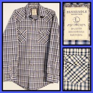Panhandle Slim Mens Western Snap Plaid Shirt Large